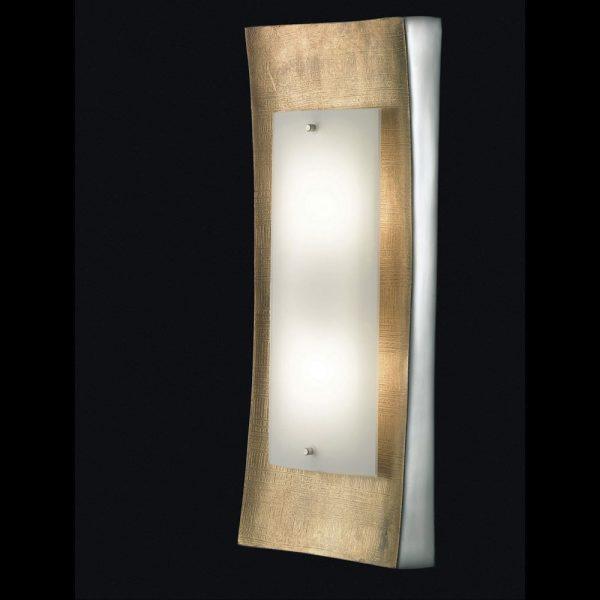LED-Decken- oder Wandlampe schmal Sockel goldfarben