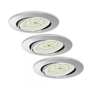 Einbauspots 3er Set LED schwenkbar chrom rund-0